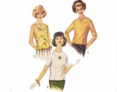 Unused Vintage Princess Seam Blouse 1960s Sewing Pattern size 18 XL Bust 38 Uncut Sewing Pattern 3 Neck and 3 Sleeve Options