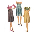 Unused Vintage Sewing Pattern 40s War Era Pleated Skirt waist 24 size Small 1940s Drop Waist Skirt Uncut McCall 5209