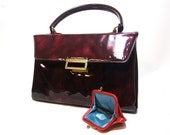 60s Vintage Purse Burgundy Patent Wine Red Mad Men Style Kelly Handbag