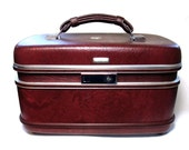 Vintage Train Case 60s Maroon Luggage Suitcase American Eagle