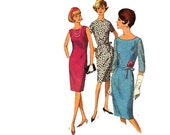 Vintage Sewing Pattern 60s Day Dress Cocktail Plus Half Size Sheath Dress bust 41 Simplicity 5939