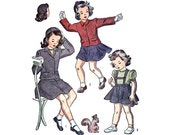 Vintage Girl's Suit Sewing Pattern 40s Toddler Suspender Skirt Jacket Beanie size 2 Simplicity 4771