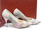 Vintage 50s Shoes Spike Heel Pumps Silver Glitter Fabric Pastel Stripe