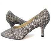 RESERVED for Aira - do not buy - Vintage 80s Shoes Evening Glitter Black High Heel Pumps NOS 9 1/2 Wide