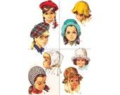 50s Vintage Sewing Pattern Flower Hat Girl Toddler Bonnet Beret Cap