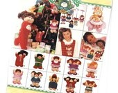 Uncut Vintage 80's Cabbage Patch Kids Craft Sewing Pattern Small Doll Stuffed Felt Christmas Ornaments Unused