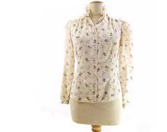 Vintage Blouse 70s Cream Floral Print Prairie Puff Sleeve Neck Ruffle Rust Brown Blue Flowers Polka Dots size Medium