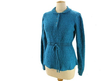 70s Vintage Boucle Sweater Teal Blue Shawl Collar Drawstring Tie Belt Nubby Acrylic Pullover Vegan size Medium