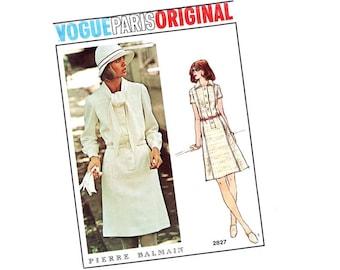 Vintage 70s Sewing Pattern Designer Dress Shirtwaist Flare Skirt Uncut Vogue Paris Original 2827 Pierre Balmain Vogue Fabric Label Uncut