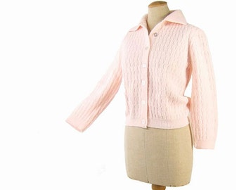 Vintage 60s Sweater Pink Cardigan Ribbed Cable Knit Pin Up Sweater Button Up Sweater with Collar size Large
