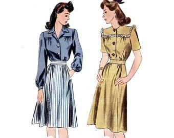 Vintage Sewing Pattern 40s Shirtwaist Dress Flare Skirt Bust 32 Small