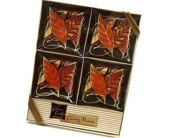Vintage Glass Ashtrays Set of 4 Card Mates Orange Black Gold Leaf NIB