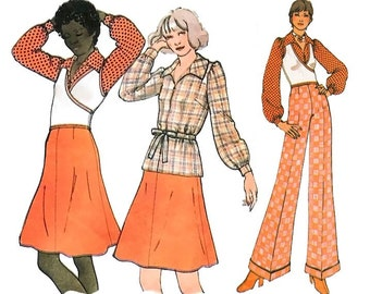 Vintage 70s Sewing Pattern Surplice Wrap Sweater Puff Sleeve Top Blouse size 12 Medium bust 34 McCall's 3506