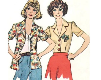 Vintage Sewing Pattern Blouse 70s Puff Sleeve Blouse Collar Yoke size Small Bust 32 1/2 Uncut Sewing Pattern McCall's 4502