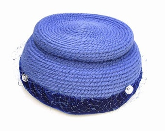 Vintage Blue Velvet Hat Pert Needlepoint Style Rhinestone Button Netting Topper Originals by Everitt 1950s 60s Mid Century Accessory