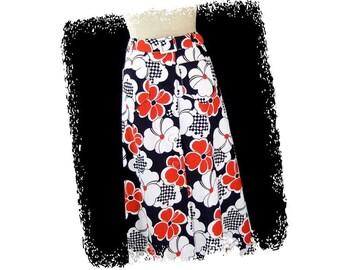 Vintage A Line Skirt 1970s Maxi Red White Blue Patriotic Floral Pop Art Flower PrintButton Front size Small
