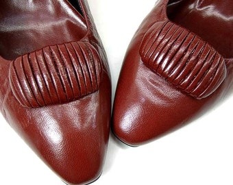 Vintage Shoes New 80s Burgundy Leather High Heel Pumps 8 1/2 Spain