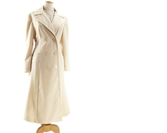 Vintage 70s Double Breasted Trench Coat Cream Ivory Princess size Large Lightweight Spring Fall Autumn Overcoat Long Below Knee