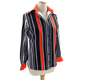 Vintage Striped Blouse Black White Red Long Sleeve Button Front 1970s Pointy Butterfly Collar size Medium Large Contessa Monique