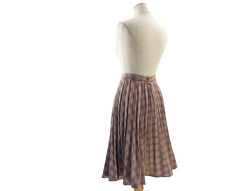 Vintage 1970s Plaid Skirt A Line Brown Blue Pleated Skirt Knee Length Skirt size Small XS 70s Flare Skirt Vintage Clothing Boho Separates
