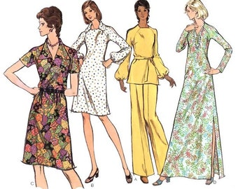Vintage Dress Sewing Pattern A-Line Maxi Tunic Pants Uncut size 10 Small bust 32 1/2 Very Easy Vogue 8480 Unused