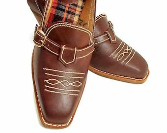 Vintage Shoes Brown Leather Western Shoes 1970s Metal Buckle Wooden Stacked Heel Pumps size 7 1/2 Seventies Footwear