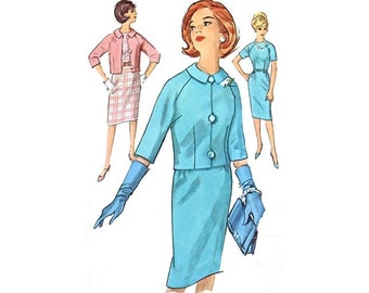 1960s Vintage Sewing Pattern Dress Raglan Sleeve Sheath Jacket Peter Pan Collar Mad Men Jackie Suit bust 34 size Medium Simplicity 4768