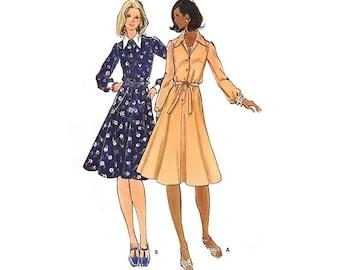 Vintage 70s Sewing Pattern Shirtwaist Dress Button Front Flare Skirt Knee Length Long Sleeve Size 10 Small Bust 32 1/2 Butterick 5733