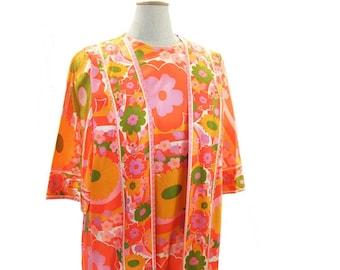 Vintage 70s Floral Maxi Dress Bright Pink Green Orange Hostess Gown size 14 Medium Large Colorful Flower Print Dress