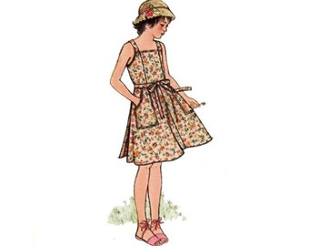 Vintage Sewing Pattern Jumper Sundress Princess Seam Back Wrap Girl's Size 14 Bust 32 Adult XS Simplicity 5605 Easy Beginner Jiffy Pattern
