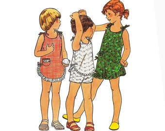 Uncut Vintage 70s Sewing Pattern Girls Romper Playsuit Dress Top Shorts Child's Size 6X Breast 25 1/2 Uncut Butterick 5494 Unused Fast Easy