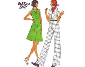Vintage 1970s Dress Sewing Pattern A Line Zip Front Tunic Blouse Pants Plus size 20 Bust 42 Butterick 3725