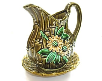 Vintage Ceramic Pitcher Bowl Bamboo Avocado Olive Green Harvest Gold