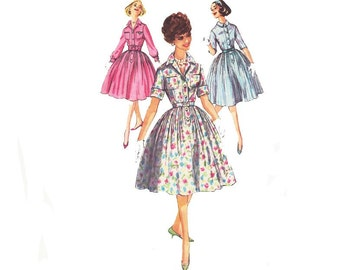 Vintage Shirtwaist Dress 1960s Sewing Pattern size Medium Simplicity 3039 Rockabilly Swing Day Dress
