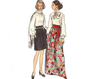 Vintage 60s Skirt Sewing Pattern Gathered Knee Length Maxi Evening