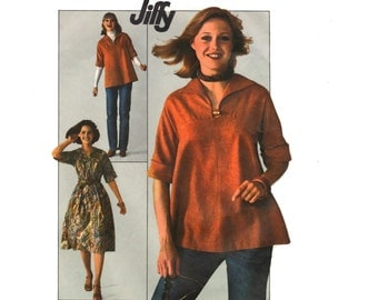 Vintage Sewing Pattern 1970s Dress Tunic Top Flare Skirt Boho Hippie size 12 Medium Bust 34 Jiffy Simplicity 7835 Easy Simple Fast Beginner