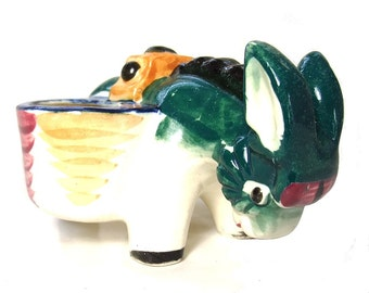 Vintage 1950s Ceramic Donkey Planter Mule Baskets Mid Century 50s Green Blue Pink Home Decor Animal Figurine Made in Occupied Japan
