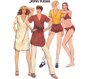 Vintage Halter Bikini Sewing Bathing Suit Swimsuit Tee Shirt Running Shorts Tunic 70s John Kloss Designer bust 34 Butterick 6536 size Medium