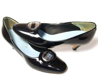 Vintage 60s Shoes Black Patent High Heel Pumps Lucite Buckle 1960s Black Vegan Shoes size 8 1/2 Narrow Pumps Chic Office Shoes