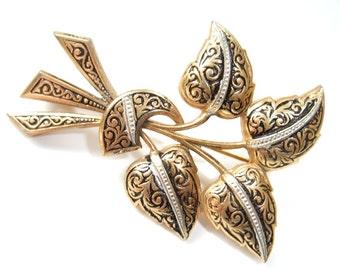 Vintage Leaf Brooch Damascene Pin Gold Silver Black Mid Century Costume Jewelry