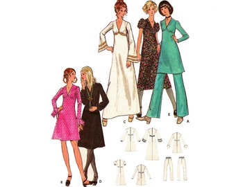 Vintage 70s Sewing Pattern Maxi Mini Granny Dress Empire Waist Tunic Evening Gown size Small XS Bust 32 1/2 Butterick 6023