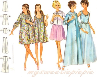 Vintage Sewing Pattern Lingerie 60s Robe Nightgown Tent Trapeze A-Line Uncut Size Medium bust 36 Butterick 5534 Unused