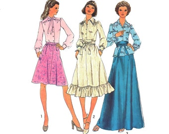 Boho Maxi Dress Sewing Pattern Ruffle Tier Skirt Bow Blouse Pointy Collar Obi Belt size 10 Small Uncut Simplicity 7001
