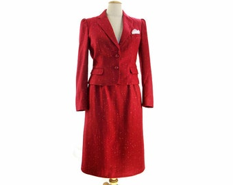 Vintage 70s does 40s Suit Ladies Wine Red Puff Sleeve Wool Fleck Jacket Skirt Office Outfit Lace Pocket Square size Small Medium
