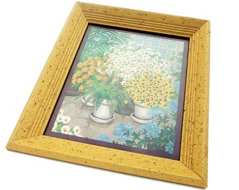 Vintage 1970s Wall Art  Yellow Framed Flower Plant Picture Print Litho