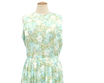 Vintage Dress 1950s Green Blue Rose Floral Sleeveless Sheath Dress Semi Sheer Pastel Floral Print Mad Men Style size Large
