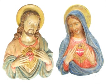 Vintage 1940s Chalkware Large Sacred Heart Jesus Christ Matching Virgin Mary Madonna Religious Decor Wall Plaques Catholic Christian Art
