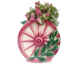 Vintage Wall Pocket 1950s Ceramic Planter Spoke Wagon Wheel Ivory Pink Green Airbrushed Leaf Vase Mid Century Home Decor