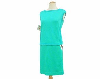 New Vintage Sweater Dress NWT 2-Piece Intarsia Knit Shell Skirt Aqua Turquoise Blue Green Unworn Deadstock size Medium Large Original Tags