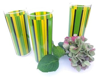 Vintage Drinking Glasses 60s Barware Yellow Lime Green Black Stripe Tall Ice Tea Tumbler Set Collectible Kitchenware Tall Drinking Glasses